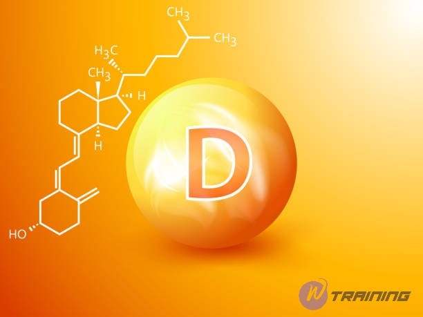 Nutrition sign vector concept. The power of vitamin D. Chemical formula