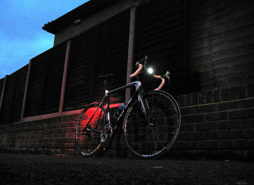 bicycle equipped with lights