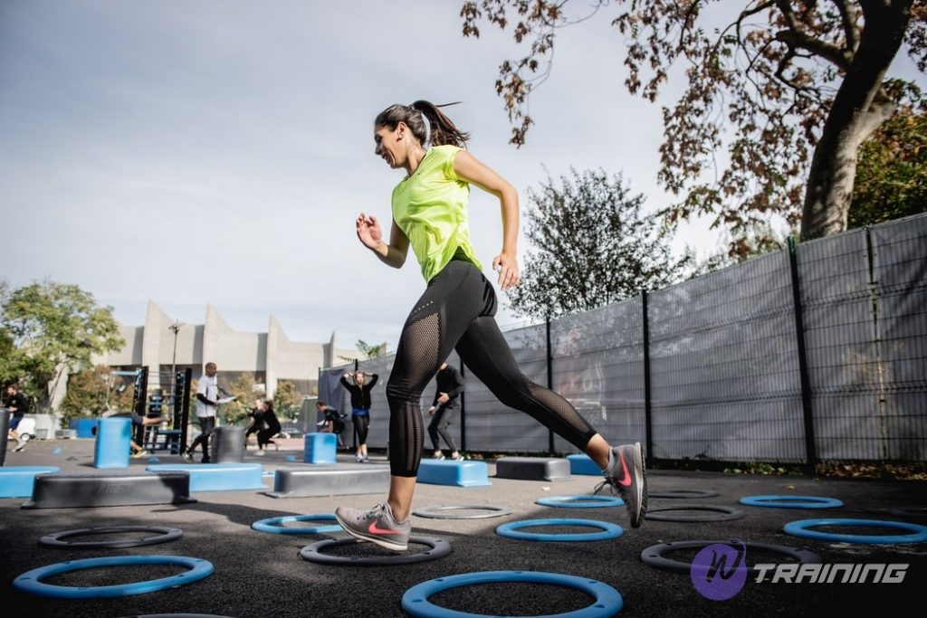 A woman is doing running exercises